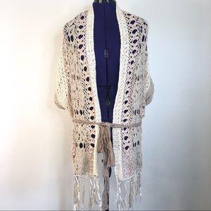 BKE Boutique Crochet Knit Cardigan Sweater